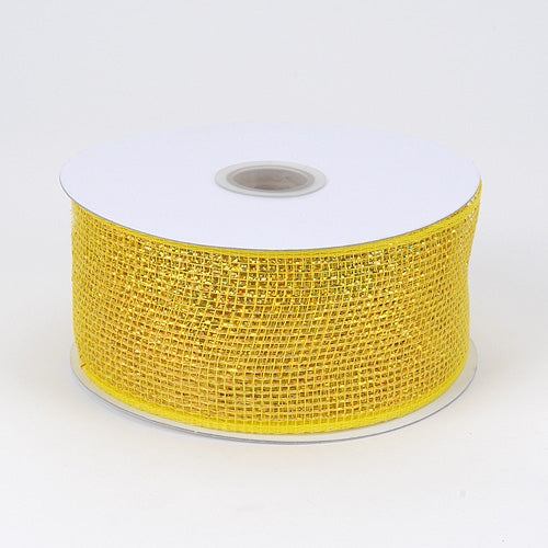 Yellow - Metallic Deco Mesh Ribbons - ( 2.5 inch x 25 yards )