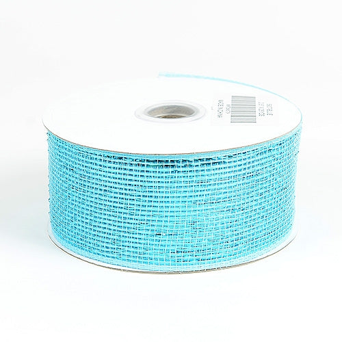 Blue - Metallic Deco Mesh Ribbons - ( 2.5 inch x 25 yards )