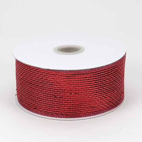 Burgundy - Metallic Deco Mesh Ribbons - ( 2.5 inch x 25 yards )