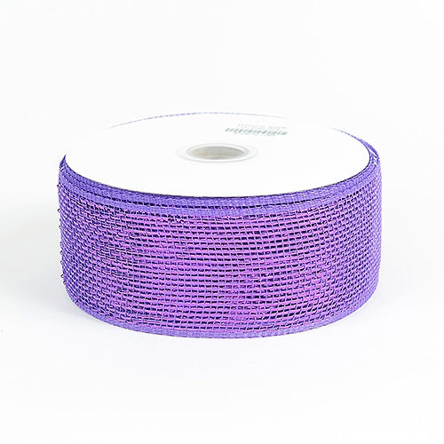 Purple - Metallic Deco Mesh Ribbons - ( 2.5 inch x 25 yards )