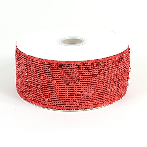 Red - Metallic Deco Mesh Ribbons - ( 2.5 inch x 25 yards )