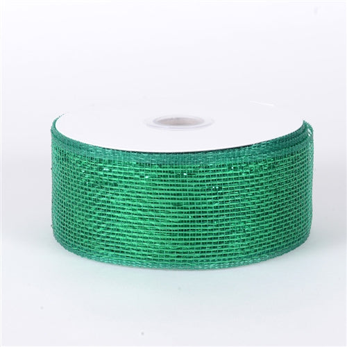 Emerald - Metallic Deco Mesh Ribbons - ( 2.5 inch x 25 yards )