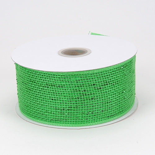 Metallic Deco Mesh Ribbons Green ( 2.5 inch x 25 yards )