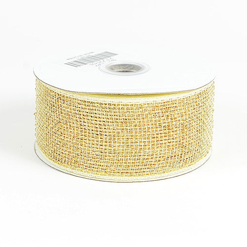 Ivory - Metallic Deco Mesh Ribbons - ( 2.5 inch x 25 yards )