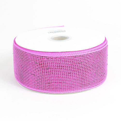 Fuchsia - Metallic Deco Mesh Ribbons - ( 2.5 inch x 25 yards )
