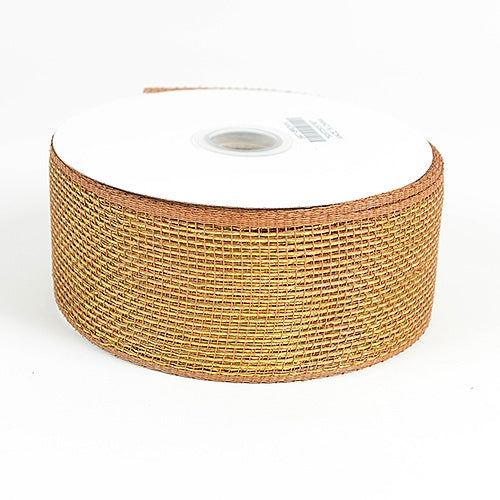 Chocolate - Metallic Deco Mesh Ribbons - ( 2.5 inch x 25 yards )