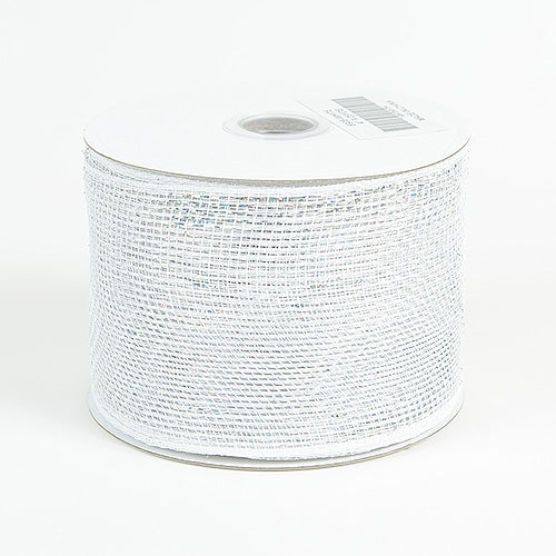 White - Metallic Deco Mesh Ribbons - ( 4 inch x 25 yards )