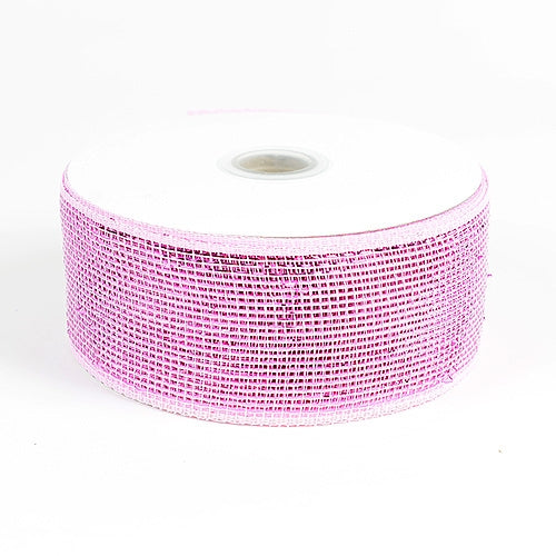Pink - Metallic Deco Mesh Ribbons - ( 4 inch x 25 yards )