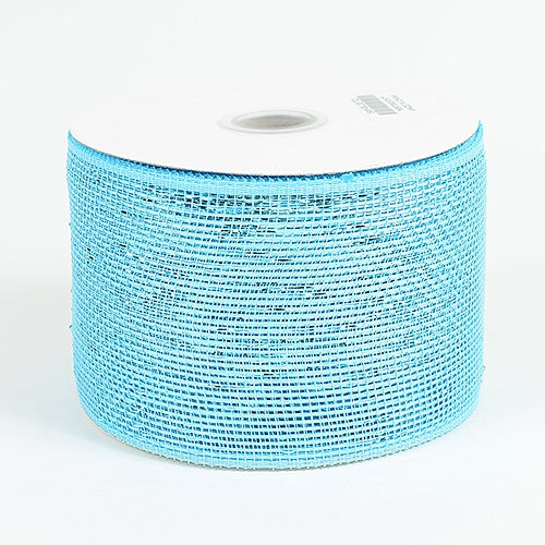Blue - Metallic Deco Mesh Ribbons - ( 4 inch x 25 yards )