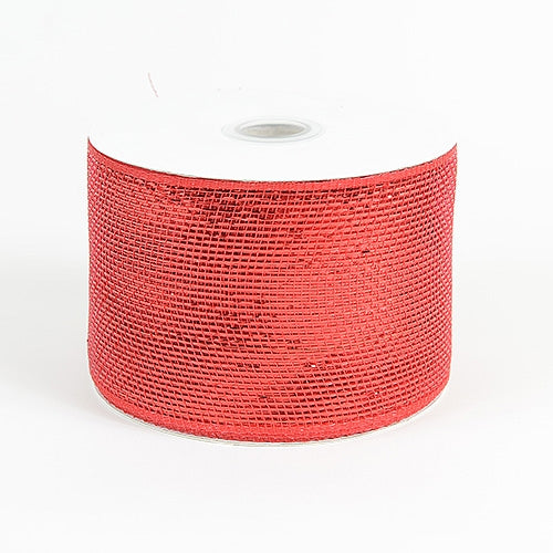Red - Metallic Deco Mesh Ribbons - ( 4 inch x 25 yards )