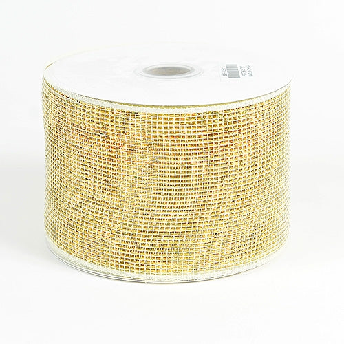 Ivory - Metallic Deco Mesh Ribbons - ( 4 inch x 25 yards )