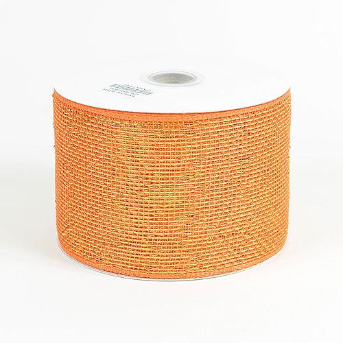 Orange - Metallic Deco Mesh Ribbons - ( 4 inch x 25 yards )