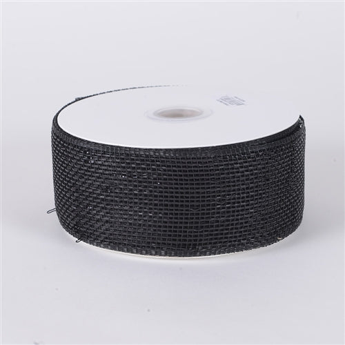 Black - Metallic Deco Mesh Ribbons - ( 4 inch x 25 yards )