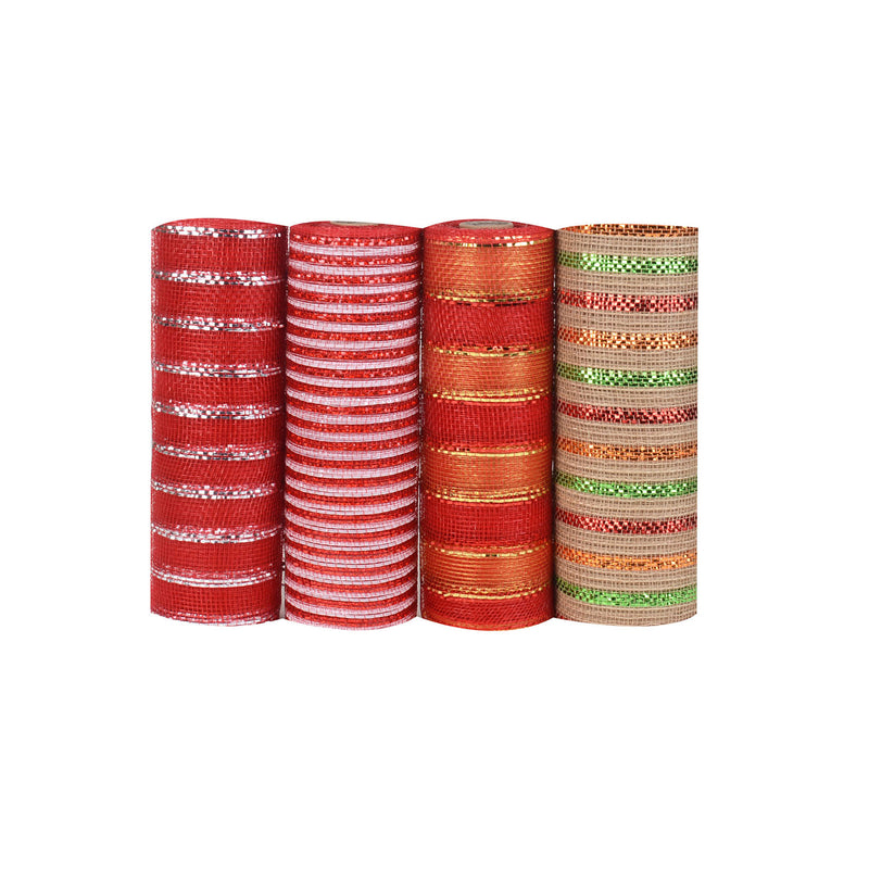 X'mas Mesh Set - Pack of 4 ( 10 Inch x 10 Yards ) - XB9181016*NXB9291001*NXB9171012G*YXB9251019