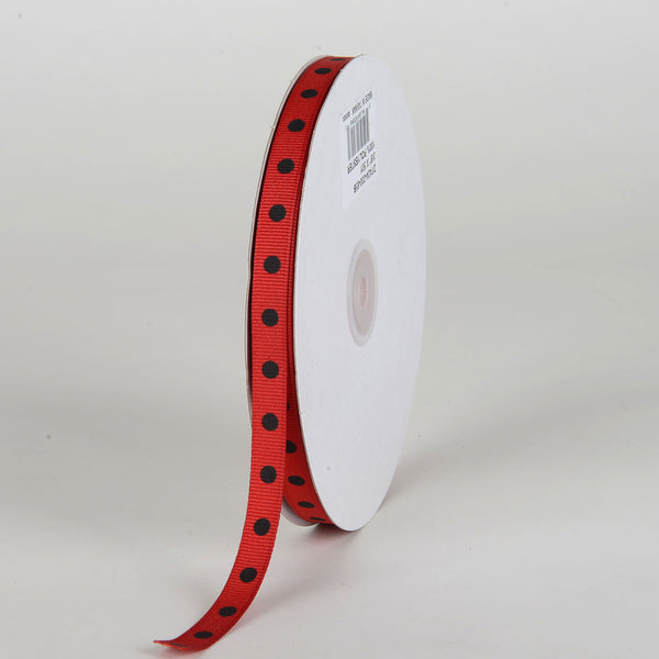 Grosgrain Ribbon Polka Dot Red with Black Dots ( W: 3/8 inch | L: 50 Yards )