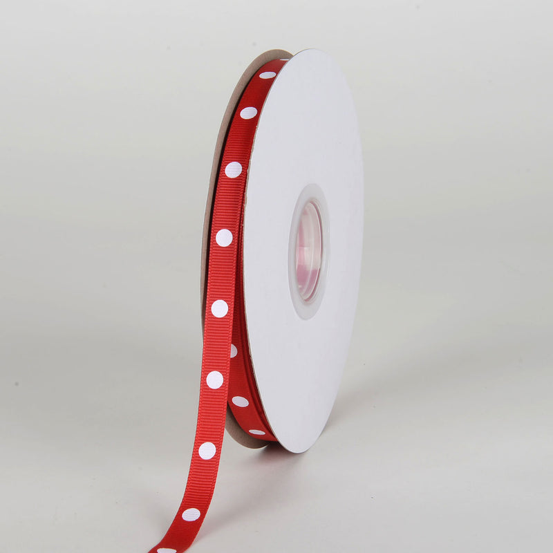 Grosgrain Ribbon Polka Dot Red with White Dots ( W: 3/8 inch | L: 50 Yards )