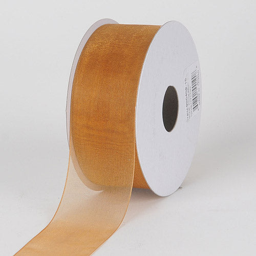 Old Gold - Sheer Organza Ribbon - ( 7/8 inch | 25 Yards )
