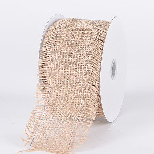 Natural - Frayed Edge Burlap Wired Edge - ( W: 2-1/2 Inch | L: 10 Yards )