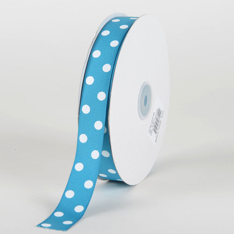 Grosgrain Ribbon Polka Dot Turquoise with White Dots ( 7/8 inch | 50 Yards )