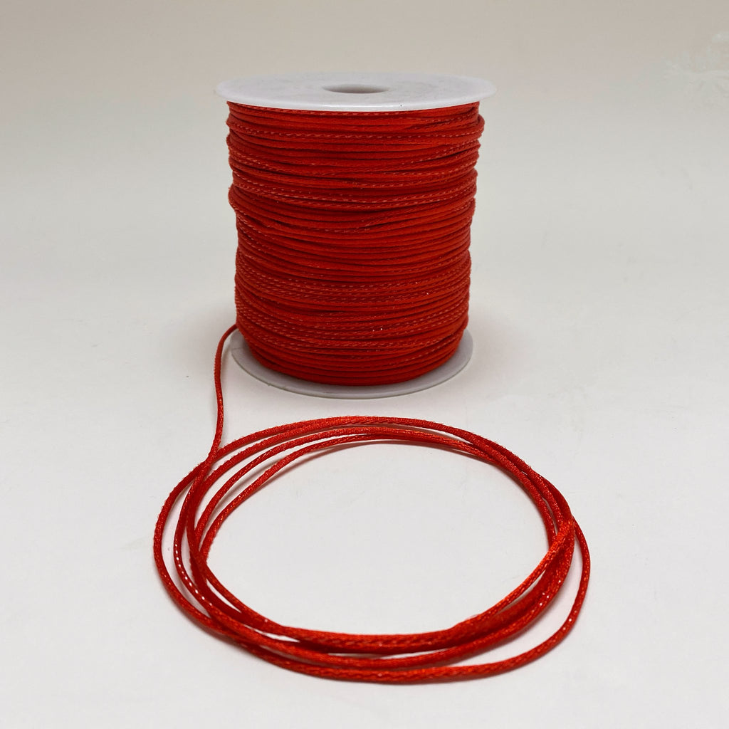 Red with Red - 2mm Satin Rat Tail Cord  - ( 2mm x 200 Yards )