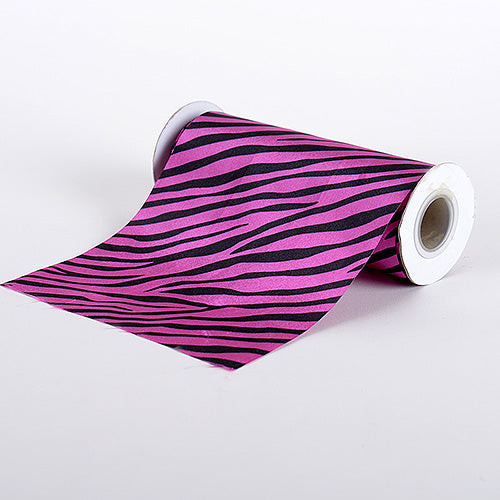 Fuchsia - Animal Printed Satin Spool - ( W: 6 inch | L: 10 Yards )