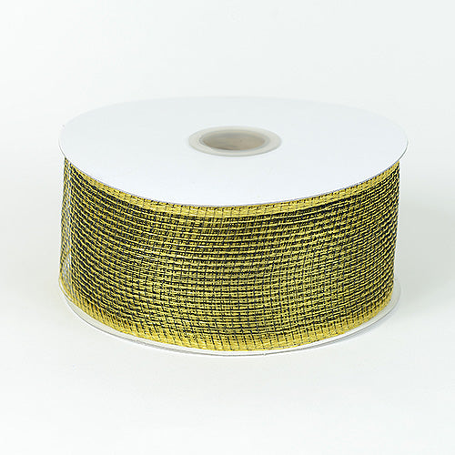 Floral Mesh Ribbon Black Gold ( 2-1/2 inch x 25 Yards )