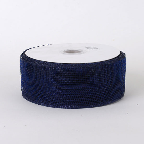 Navy - Floral Mesh Ribbon - ( 4 Inch x 25 Yards )