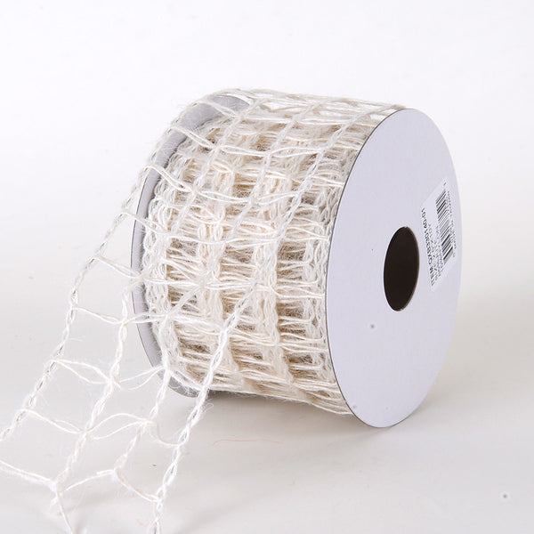 White - Burlap Net Ribbon - ( W: 2-1/2 inch | L: 10 Yards )
