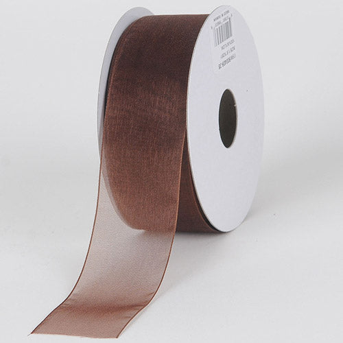 Chocolate - Sheer Organza Ribbon - ( 1-1/2 inch | 25 Yards )