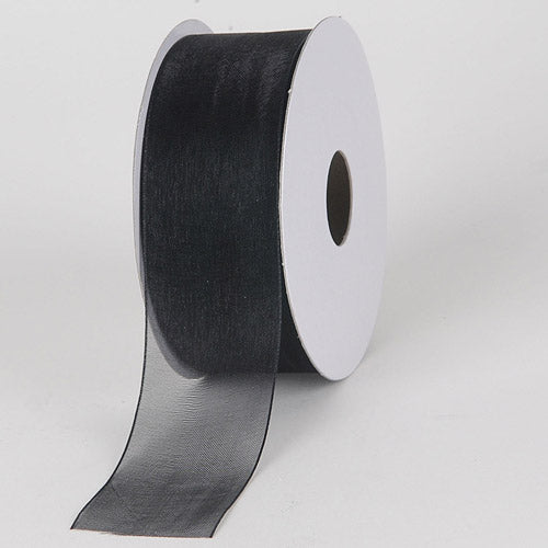 Black - Sheer Organza Ribbon - ( W: 3/8 inch | L: 25 Yards )