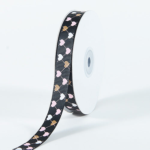 Grosgrain Ribbon Plaid Sweetheart Print Black ( W: 3/8 inch | L: 25 Yards )