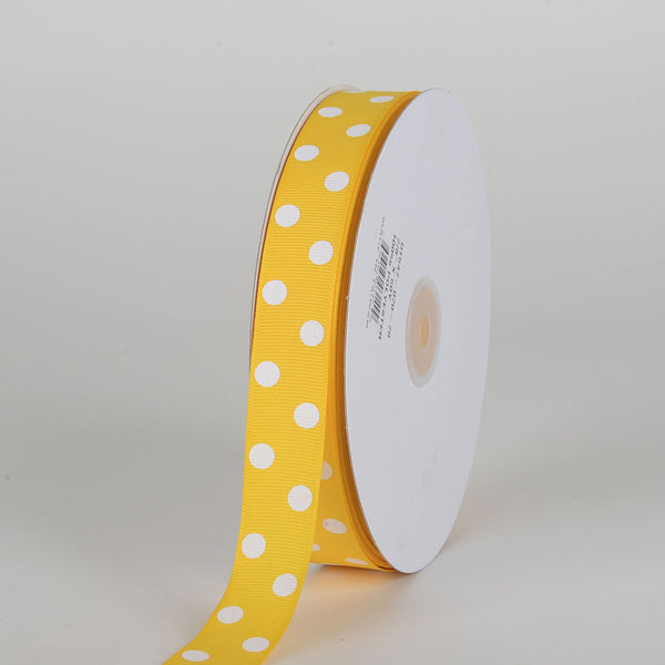 Grosgrain Ribbon Polka Dot Yellow with White Dots ( 7/8 inch | 50 Yards )