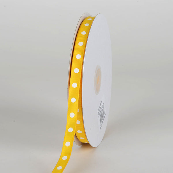 Grosgrain Ribbon Polka Dot Yellow with White Dots ( W: 3/8 inch | L: 50 Yards )