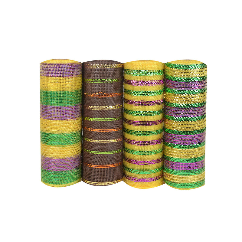 Mardi Gras Mesh Set - Pack of 4 ( 10 Inch x 10 Yards ) - XB9171045*NXB9181038*XB9171022M*XB9171047