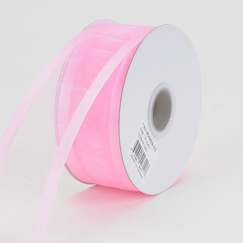 Light Pink - Organza Ribbon Two Striped Satin Edge - ( 7/8 inch | 25 Yards )