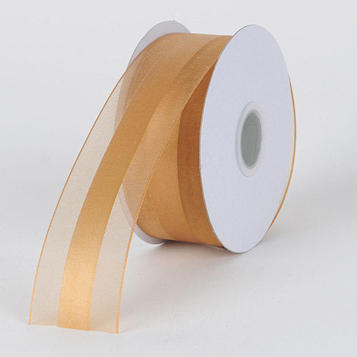 Old Gold - Organza Ribbon Satin Center - ( W: 5/8 inch | L: 25 Yards )