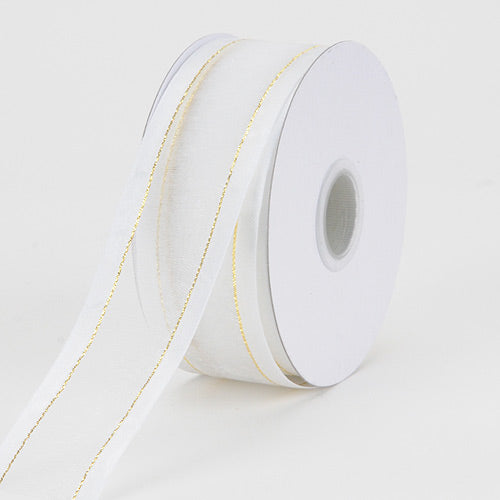 Organza Ribbon Two Striped Satin Edge White With Gold Edge ( 1-1/2 inch | 100 Yards )