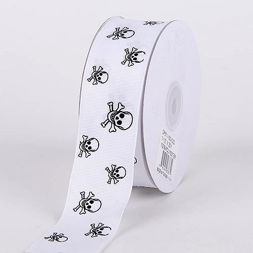 Grosgrain Ribbon Skull Design White with White Black Skull ( 1-1/2 inch | 25 Yards )