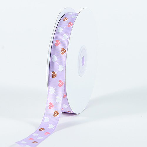 Grosgrain Ribbon Plaid Sweetheart Print Lavender ( W: 3/8 inch | L: 25 Yards )
