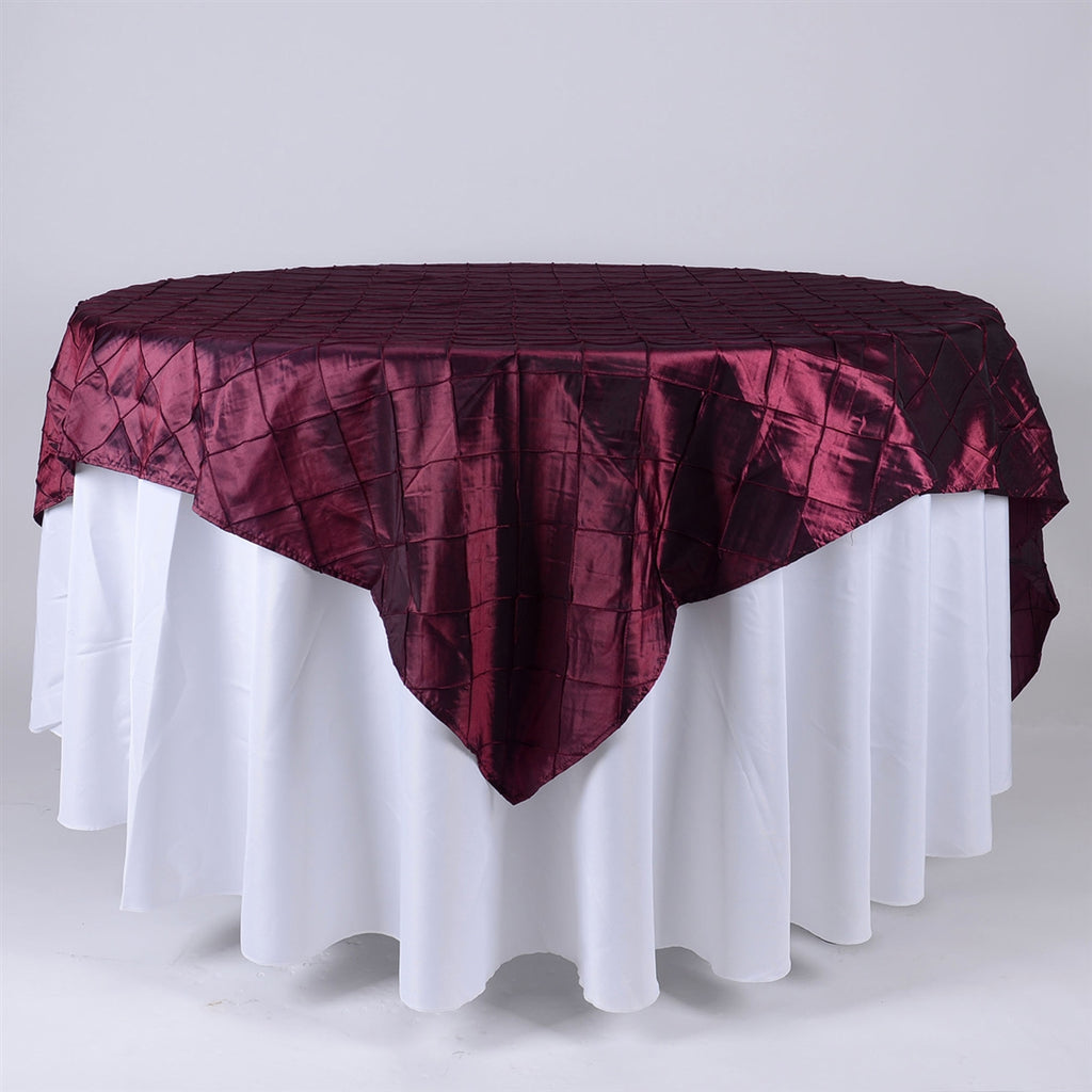 Burgundy - 85 inch x 85 inch Square Pintuck Satin Overlay