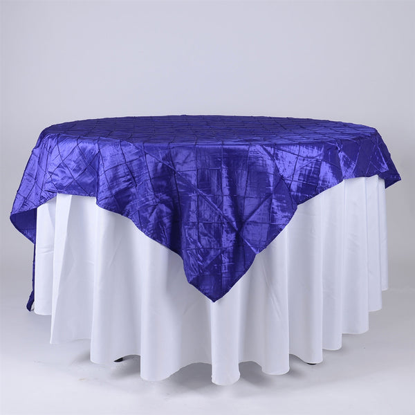 Purple - 85 inch x 85 inch Square Pintuck Satin Overlay