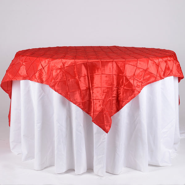 Red - 85 inch x 85 inch Square Pintuck Satin Overlay