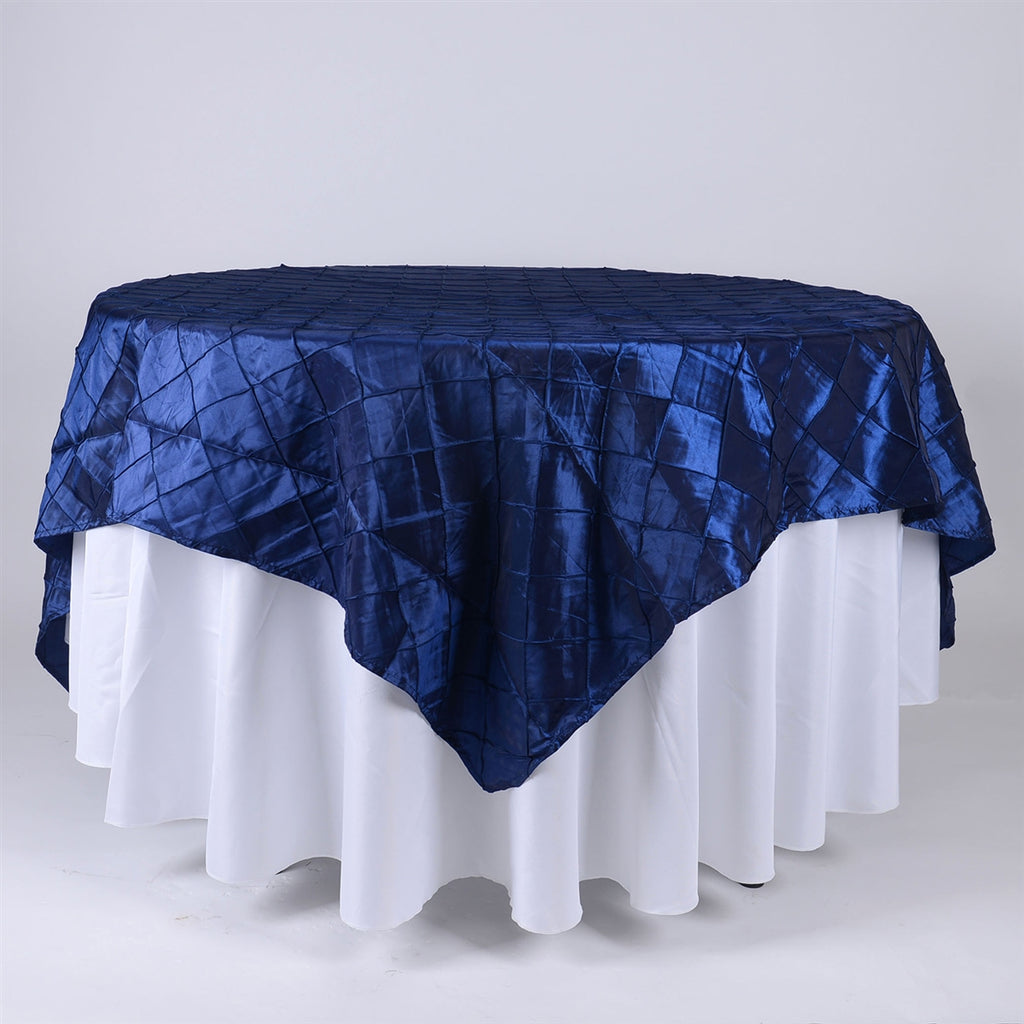 Navy - 85 inch x 85 inch Square Pintuck Satin Overlay