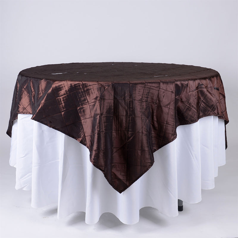 Chocolate Brown - 85 inch x 85 inch Square Pintuck Satin Overlay