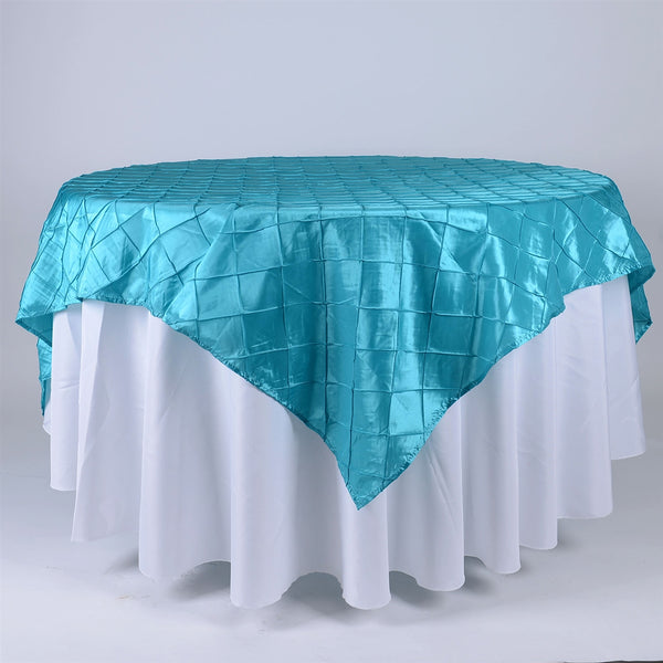 Turquoise - 85 inch x 85 inch Square Pintuck Satin Overlay