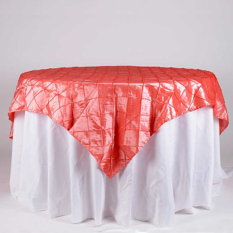 Coral- 85 inch x 85 inch Square Pintuck Satin Overlay
