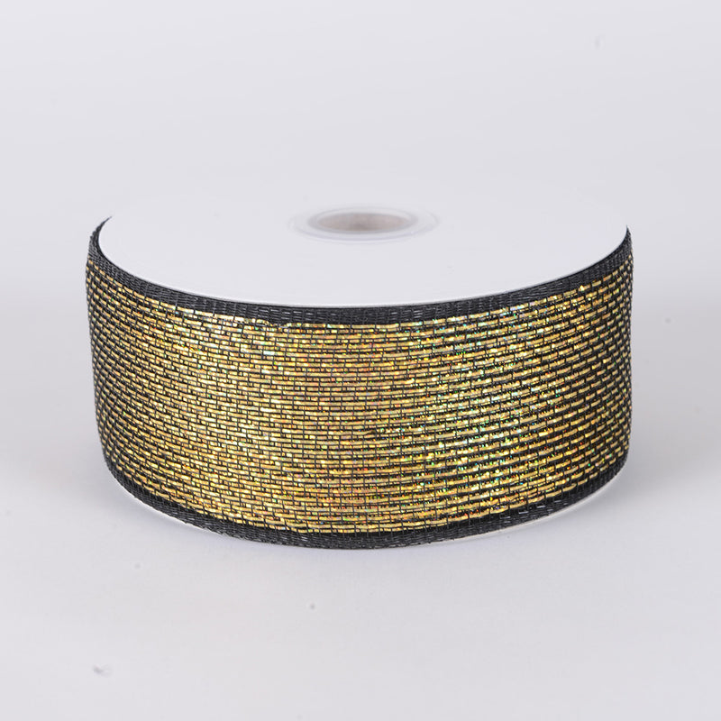 Metallic Deco Mesh Ribbons Black Gold ( 2.5 inch x 25 yards )