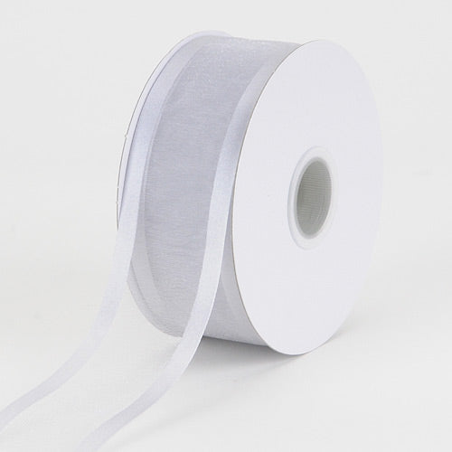 Silver - Organza Ribbon Two Striped Satin Edge - ( W: 3/8 inch | L: 25 Yards )