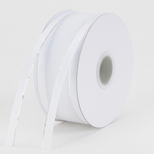 Organza Ribbon Two Striped Satin Edge White with Silver Edge ( 1-1/2 inch | 25 Yards )