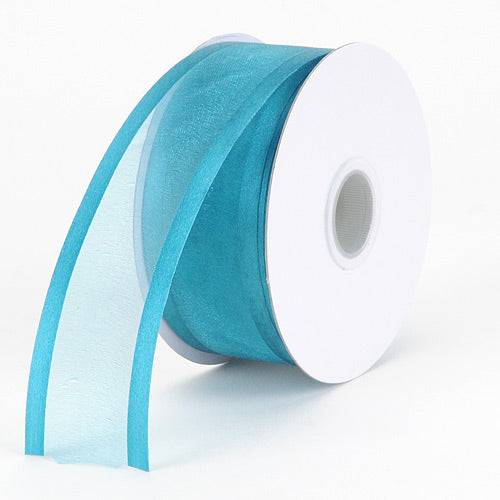 Teal - Organza Ribbon Two Striped Satin Edge - ( W: 3/8 inch | L: 25 Yards )